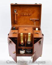 English Leather Hamper Wine Champagne Trunk Box Campaign Furniture
