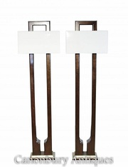 Buy Pair Art Deco Floor Lamps Mahogany and Walnut