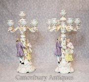 Buy Pair German Meissen Porcelain Figurine Candelabras Candles