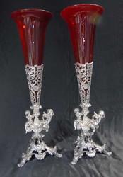 Buy Pair Silver Plate Cherub Rose Vases Vase