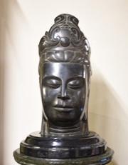 Antique Marble Cambodian Buddha Bust Buddhism Circa 18th Century