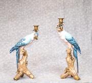 Pair Candelabras - French Porcelain and Gilt Parrot Candelsticks Candl