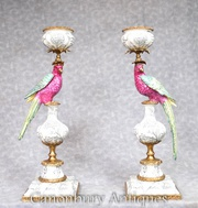 Pair French Porcelain Tropical Parrot Candles Candelabras