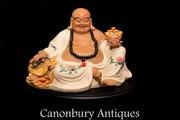 Chinese Happy Buddha - Qing Porcelain Buddhist Statue