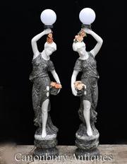 Pair XL Italian Marble Female Figurine Lights Statue Lamps
