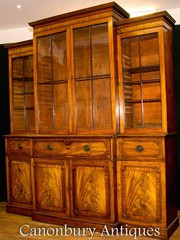 Antique Breakfront Bookcase Secretaire Desk